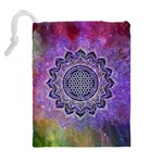 Flower Of Life Indian Ornaments Mandala Universe Drawstring Pouches (Extra Large) Back