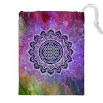Flower Of Life Indian Ornaments Mandala Universe Drawstring Pouches (XXL) Front