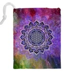 Flower Of Life Indian Ornaments Mandala Universe Drawstring Pouches (XXL) Back