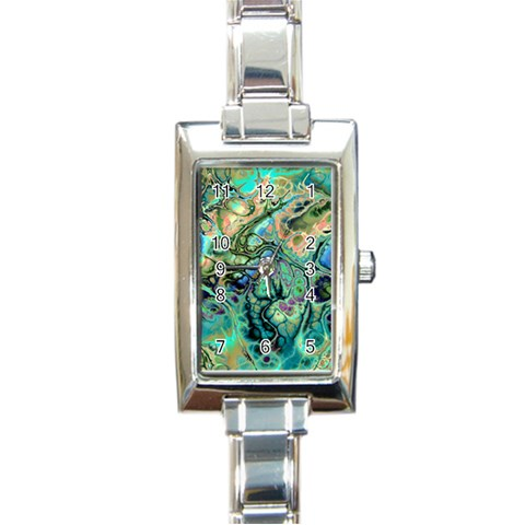 Fractal Batik Art Teal Turquoise Salmon Rectangle Italian Charm Watch