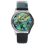 Fractal Batik Art Teal Turquoise Salmon Round Metal Watch Front
