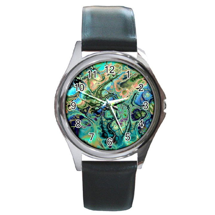 Fractal Batik Art Teal Turquoise Salmon Round Metal Watch