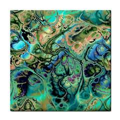 Fractal Batik Art Teal Turquoise Salmon Tile Coasters