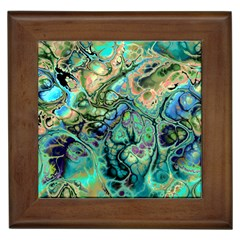 Fractal Batik Art Teal Turquoise Salmon Framed Tiles