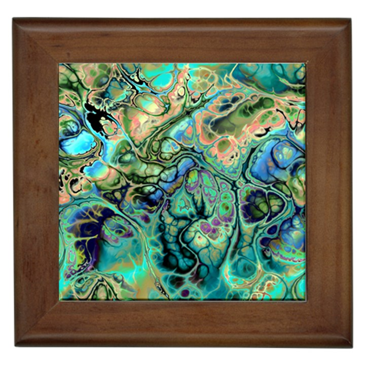 Fractal Batik Art Teal Turquoise Salmon Framed Tiles