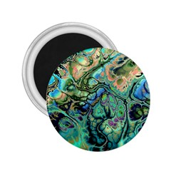Fractal Batik Art Teal Turquoise Salmon 2.25  Magnets