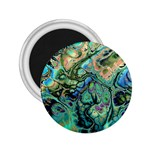 Fractal Batik Art Teal Turquoise Salmon 2.25  Magnets Front