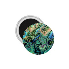 Fractal Batik Art Teal Turquoise Salmon 1.75  Magnets