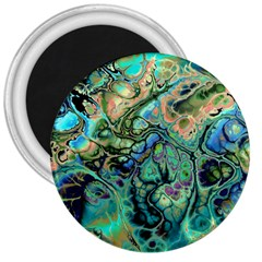 Fractal Batik Art Teal Turquoise Salmon 3  Magnets