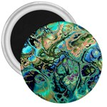 Fractal Batik Art Teal Turquoise Salmon 3  Magnets Front