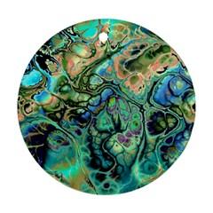 Fractal Batik Art Teal Turquoise Salmon Ornament (Round)