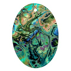 Fractal Batik Art Teal Turquoise Salmon Ornament (Oval)