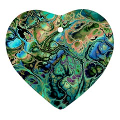Fractal Batik Art Teal Turquoise Salmon Ornament (Heart)