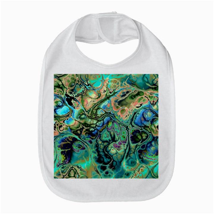 Fractal Batik Art Teal Turquoise Salmon Bib