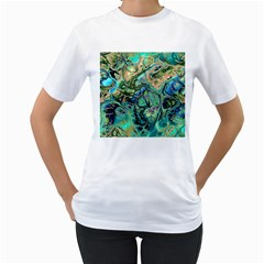 Fractal Batik Art Teal Turquoise Salmon Women s T-Shirt (White) (Two Sided)