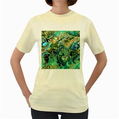 Fractal Batik Art Teal Turquoise Salmon Women s Yellow T-Shirt
