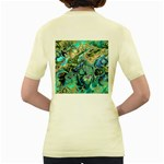 Fractal Batik Art Teal Turquoise Salmon Women s Yellow T-Shirt Back