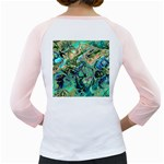 Fractal Batik Art Teal Turquoise Salmon Girly Raglans Back