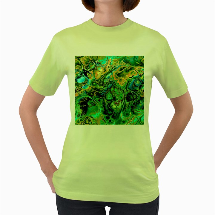 Fractal Batik Art Teal Turquoise Salmon Women s Green T-Shirt