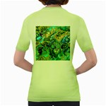 Fractal Batik Art Teal Turquoise Salmon Women s Green T-Shirt Back
