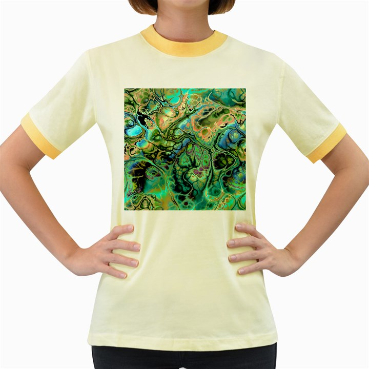 Fractal Batik Art Teal Turquoise Salmon Women s Fitted Ringer T-Shirts