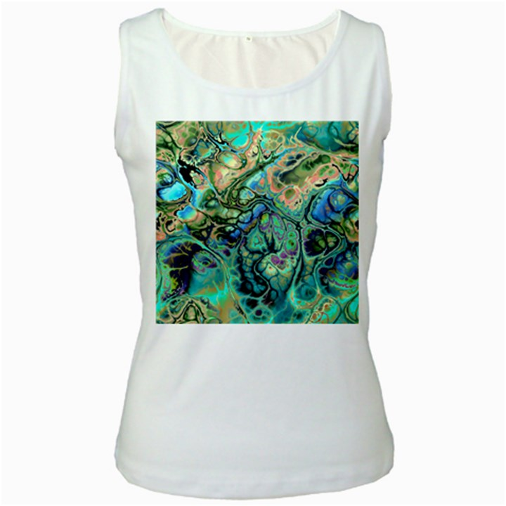Fractal Batik Art Teal Turquoise Salmon Women s White Tank Top