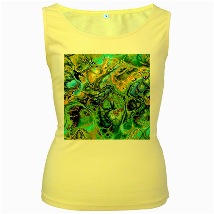 Fractal Batik Art Teal Turquoise Salmon Women s Yellow Tank Top