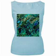 Fractal Batik Art Teal Turquoise Salmon Women s Baby Blue Tank Top