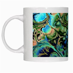 Fractal Batik Art Teal Turquoise Salmon White Mugs