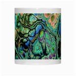 Fractal Batik Art Teal Turquoise Salmon White Mugs Center
