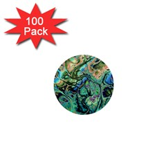 Fractal Batik Art Teal Turquoise Salmon 1  Mini Buttons (100 Pack)