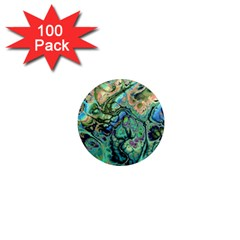 Fractal Batik Art Teal Turquoise Salmon 1  Mini Magnets (100 pack)