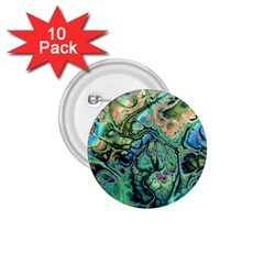 Fractal Batik Art Teal Turquoise Salmon 1.75  Buttons (10 pack)