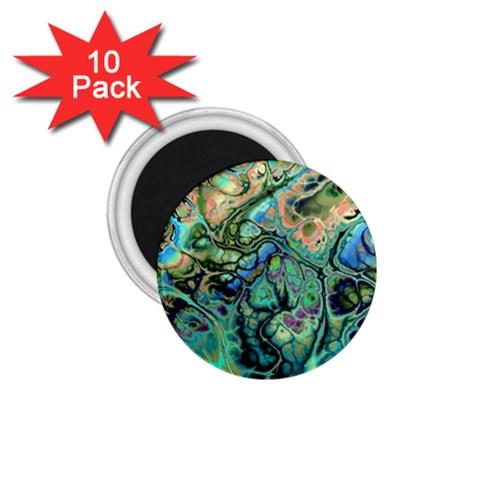 Fractal Batik Art Teal Turquoise Salmon 1.75  Magnets (10 pack)