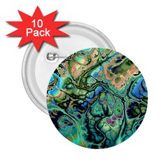 Fractal Batik Art Teal Turquoise Salmon 2 25  Buttons (10 Pack)