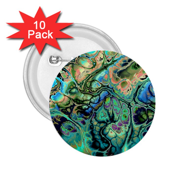 Fractal Batik Art Teal Turquoise Salmon 2.25  Buttons (10 pack)