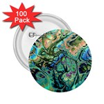Fractal Batik Art Teal Turquoise Salmon 2.25  Buttons (100 pack)  Front