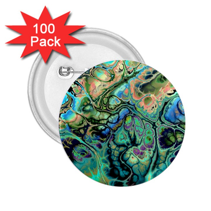Fractal Batik Art Teal Turquoise Salmon 2.25  Buttons (100 pack)
