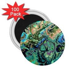 Fractal Batik Art Teal Turquoise Salmon 2.25  Magnets (100 pack)