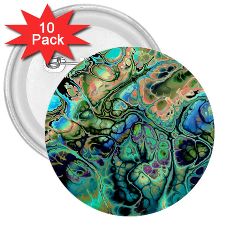 Fractal Batik Art Teal Turquoise Salmon 3  Buttons (10 pack)