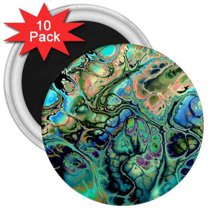 Fractal Batik Art Teal Turquoise Salmon 3  Magnets (10 pack)