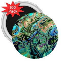 Fractal Batik Art Teal Turquoise Salmon 3  Magnets (100 pack)