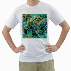 Fractal Batik Art Teal Turquoise Salmon Men s T-Shirt (White) (Two Sided)