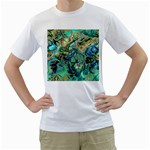 Fractal Batik Art Teal Turquoise Salmon Men s T-Shirt (White) (Two Sided) Front