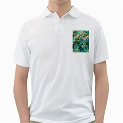 Fractal Batik Art Teal Turquoise Salmon Golf Shirts