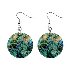 Fractal Batik Art Teal Turquoise Salmon Mini Button Earrings