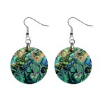 Fractal Batik Art Teal Turquoise Salmon Mini Button Earrings Front