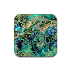 Fractal Batik Art Teal Turquoise Salmon Rubber Square Coaster (4 Pack)