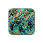 Fractal Batik Art Teal Turquoise Salmon Rubber Square Coaster (4 pack)  Front