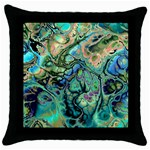 Fractal Batik Art Teal Turquoise Salmon Throw Pillow Case (Black) Front